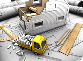 19553483 - 3d illustration of truck and model of house on abstract background