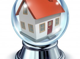 12024521 - dream house in a crystal ball transparent glass sphere and a chrome metal base on a white background with a shadow as a symbol of housing and real estate home predictions of things to come in interest rates and mortgage finances for a personal residence.