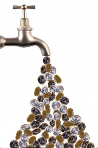 money flowing out of a retro tap