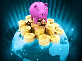 47358036 - globe with dollar coins and piggy global money saving