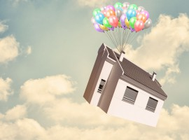 15392739 - house and balloon in sky, outdoor