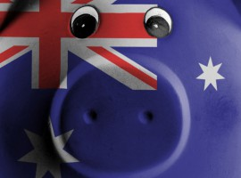 26133779 - ceramic piggy bank with painting of national flag, australia