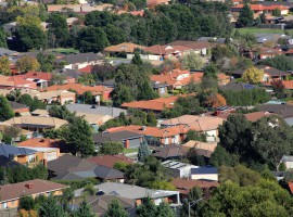 30155398 - suburban houses seen from high vantage point
