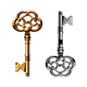 47485702 - gold and silver realistic vintage isolated keys on white background