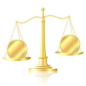 15057364 - coin outweighs another coin on scales vector illustration